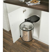 Built-In Waste Bin for Swing Out Behind Door, Stainless Steel w/ Black Lid, 16 Quart (4 Gallon), Min. Cabinet Opening: 15-3/4'' Wide