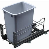 Built-In Single Pull-Out Bottom Mount Waste Bin with Soft & Silent Closing, 52 Qt (13 Gal), Silver Frame/Gray Bin, Min. Cabinet Opening: 11-1/2'' and 12-9/16'' Wide