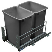 Built-In Double Pull-Out Bottom Mount Waste Bin with Soft & Silent Closing, 2 x 52 Qt (2 x 13 Gal), Silver Frame & Grey Bin, Min. Cabinet Opening: 15'' and 15-5/8'' Wide