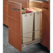 Built-In Double Pull-Out Bottom Mount Waste Bin with Soft & Silent Closing, 2 x 36 Qt (2 x 9 Gal), Champagne Frame & Champagne Bin, Min. Cabinet Opening: 15'' and 15-5/8'' Wide