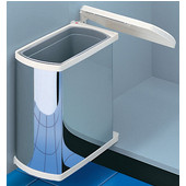 Swing-Out Waste Bin for Vanity or Kitchen Cabinet, Stainless Steel Can/White Lid, Min. Cabinet Opening: 15-3/8'' Wide