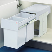 ''Easy Cargo 30'' Pull-Out Double Waste Bins - 2 x 16 Quart (2 x 4 Gallon), White, Min. Cabinet Opening: 9-7/8'' Wide