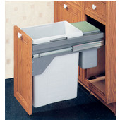 US Cargo 15 Double Waste Bin Pull-Out, 11.1 & 1.85 or 2.25 Gallons, Silver Frame, Available with or without Soft Close, Min. Cabinet Opening: 12'' or 14-3/4'' Wide