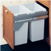 Double Waste Bin Pull-Out, 21 Gallons, Silver or Champagne Frame, Min. Cabinet Opening: 19-1/2'' - 20-1/16'' Wide