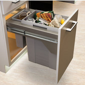 US Cargo 15 Double Waste Bin Pull-Out, 11.1 & 1.85 or 2.25 Gallons, Champagne Frame w/ Soft Close, Min. Cabinet Opening: 12'' or 14-3/4'' Wide