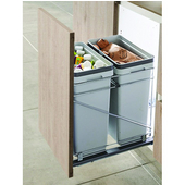 Salice Pull-Out Bottom Mount Soft Close Double Waste Bin, Silver, 2 x 32 Quart (2 x 8 Gallon), 15''W x 19-5/8''D x 19-1/2''H