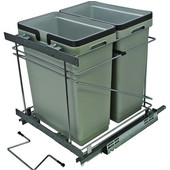 Salice Pull-Out Bottom Mount Soft Close Double Waste Bin, Silver, 2 x 32 Quart (2 x 8 Gallon), 18''W x 19-5/8''D x 19-1/2''H