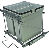 Salice Pull-Out Bottom Mount Soft Close Double Waste Bin, Silver, 2x 35 Quart (2 x 8.75 Gallon), 21''W x 19-5/8''D x 19-1/2''H