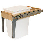 Built-In Single Pull-Out Side Mount 18''H Waste Bin with Soft & Silent Closing & Rear Storage Compartment, 36 Qt (9 Gal), Maple Wood Frame with White Bins