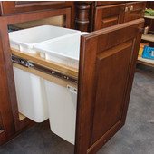 Built-In Double Pull-Out Side Mount 17-7/8''W Waste Bin, 2 x 52 Qt (2 x 13 Gal), with Soft & Silent Closing, Maple Wood Frame with White Bins, Min. Cabinet Opening: 18'' Wide