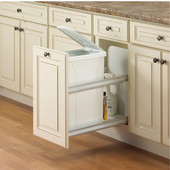 Single Bottom Mount Built-In Soft Close Waste Bin, 35 Quarts (8.75 Gallons) or 50 Quarts (12.5 Gallons), White, Min. Cabinet Opening: 12'' Wide