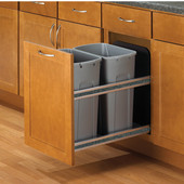 Double Bottom Mount Soft Close Built-In Waste Bin, Frosted Nickel, Min. Cabinet Opening: 15'' Wide