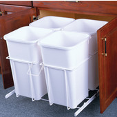 Four Bin Bottom Mount Waste Bin, White, Min. Cabinet Opening: 24'' Wide