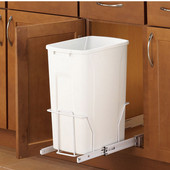 Single Built-In Bottom Mount Pull-Out Waste Bin - 35 Quart (8.75 Gallon), Min. Cabinet Opening: 15'' Wide