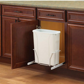 Single Built-In Bottom Mount Sideway Pull-Out Waste Bin - 20 Quart (5 Gallon), Min. Cabinet Opening: 12'' Wide