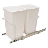 Double Bottom Mount Waste Bin, White, 2 x 27 Quarts (2 x 6.75 Gallons), Min. Cabinet Opening: 12'' Wide