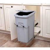 Bottom Mount Soft Close Single Waste Bin, Frosted Nickel, 35 Quart (8.75 Gallon), 9-3/8''W x 20-1/8''D x 18-13/16''H