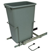 Bottom Mount Soft Close Single Waste Bin, Frosted Nickel, 50 Quart (12.5 Gallon), 11-3/8''W x 20-1/8''D x 22-7/8''H