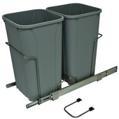 Bottom Mount Soft Close Double Waste Bin, Frosted Nickel, 2 x 27 Quart (2 x 6.75 Gallon), 11-3/8''W x 22-7/16''D x 18-3/4''H