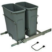 Bottom Mount Soft Close Double Waste Bin, Frosted Nickel, 2 x 20 Quart (2 x 5 Gallon), 14-3/8''W x 20-1/8''D x 17-5/16''H