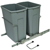Bottom Mount Soft Close Double Waste Bin, Frosted Nickel, 2 x 35 Quarts (2 x 8.75 Gallons), 14-3/8''W x 23-1/8''D x 18-13/16''H