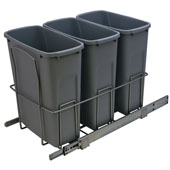 Triple Bottom Mount Soft Close Waste Bin, Frosted Nickel, 3 x 20 Quarts (3 x 5 Gallons)