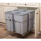 Bottom Mount Soft Close Four Waste Bin, Frosted Nickel, 4 x 27 Quart (4 x 6.75 Gallon), 23-3/8''W x 22-1/2''D x 19''H