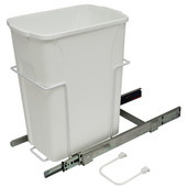 Bottom Mount Soft Close Single Waste Bin, White, 35 Quart (8.75 Gallon), 9-3/8''W x 20-1/8''D x 18-13/16''H