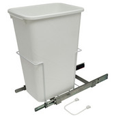 Bottom Mount Soft Close Single Waste Bin, White, 50 Quart (12.5 Gallon), 11-3/8''W x 20-1/8''D x 22-7/8''H
