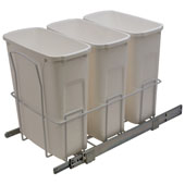 Triple Bottom Mount Soft Close Waste Bin, White or Frosted Nickel, 3 x 20 Quarts (3 x 5 Gallons), Min. Cabinet Opening: 15'' Wide