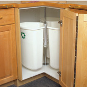 Corner Recycling Center with Three 32 Quart (8 Gallon) Bins, Chrome/White, with or without Door Mount, Min. Cabinet Opening: 12'' Wide