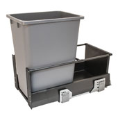 Single Built-In Bottom Mount Pull-Out MX Trash Can, Steel, Anthracite with Gray Bin, 36 Qt (9 Gal) or 52 Qt (13 Gal)