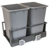 Double Built-In Bottom Mount Pull-Out MX Trash Cans, Steel, Anthracite with Gray Bin, 2 x 36 Qt (2 x 9 Gal) or 2 x 52 Qt (2 x 13 Gal)