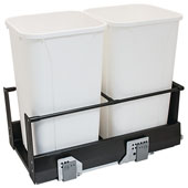 Double Built-In Bottom Mount Pull-Out MX Trash Cans, Steel, Anthracite with White Bins, 2 x 27 Qt (2 x 6.75 Gal)