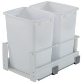 Double Built-In Bottom Mount Pull-Out MX Trash Cans, Steel, White with White Bin, 2 x 36 Qt (2 x 9 Gal) or 2 x 52 Qt (2 x 13 Gal)