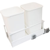 Double Built-In Bottom Mount Pull-Out MX Trash Cans, Steel, White with White Bins, 2 x 27 Qt (2 x 6.75 Gal)