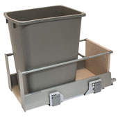 Single Built-In Bottom Mount Pull-Out MX Trash Can, Steel, Champagne with Champagne Bin, 36 Qt (9 Gal) or 52 Qt (13 Gal)