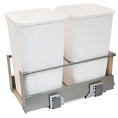 Double Built-In Bottom Mount Pull-Out MX Trash Cans, Steel, Champagne with White Bins, 2 x 27 Qt (2 x 6.75 Gal)