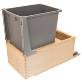 Built-In Single Pull-Out Bottom Mount 24''H Waste Bin with Soft & Silent Grass Elite Slides & Rear Storage Compartment, 52 Qt (13 Gal), Birch Wood Frame with Gray Bins