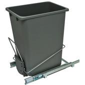 Bottom Mount Wire Single Waste Bin, Gray, 36 Quart (9 Gallon), 10-9/16''W x 14''D x 19''H