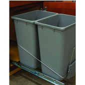 Bottom Mount Wire Double Waste Bin, Gray, 2 x 36 Quart (2 x 9 Gallon), 14-1/8''W x 21-5/8''D x 19''H