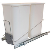 Built-In Double Pull-Out Bottom Mount Waste Bin System, 2 x 27 Qt (2 x 6.75 Gal), Wire Chrome Frame & White Bin, 11-1/4''W x 21-3/4''D x 18-3/4''H