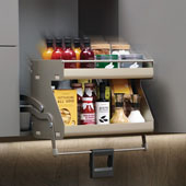 iMove Pull Down Unit, Double Shelf, Champagne/Maple, Faceframe or Frameless, For 21'' - 24'' Cabinet Width