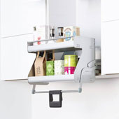 iMove Pull Down Unit, Double Shelf, Silver/White, Faceframe or Frameless, For 21'' - 24'' Cabinet Width