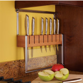 H�fele Propri Knife Holder for 8 Knives, Nickel Matte & Beech Wood Block