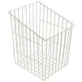 12-1/2'' W White Epoxy Coated Steel Wire Tilt Down Four Sided Laundry Hamper