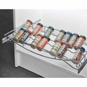 Pull-out Spice Tray, with Full Extension Slides, for 24''W Cabinets, Chrome, Stores 22 spices