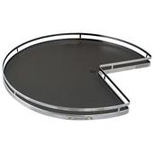 32'' Diameter ''Arena Plus'' 3/4 Round Pie-Cut Shelf Mounted Kidney Lazy Susan (2-Shelf Set), Chrome/Anthracite