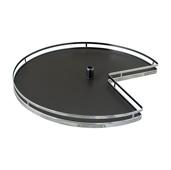 28'' Diameter Revolving Kidney Corner Lazy Susan - 2 Arena Plus Non-Slip Tray Set, Chrome/Anthracite