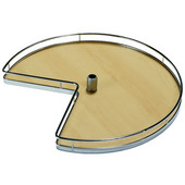 28'' Diameter Revolving Kidney Corner Lazy Susan - 2 Arena Plus Non-Slip Tray Set, Chrome/Maple